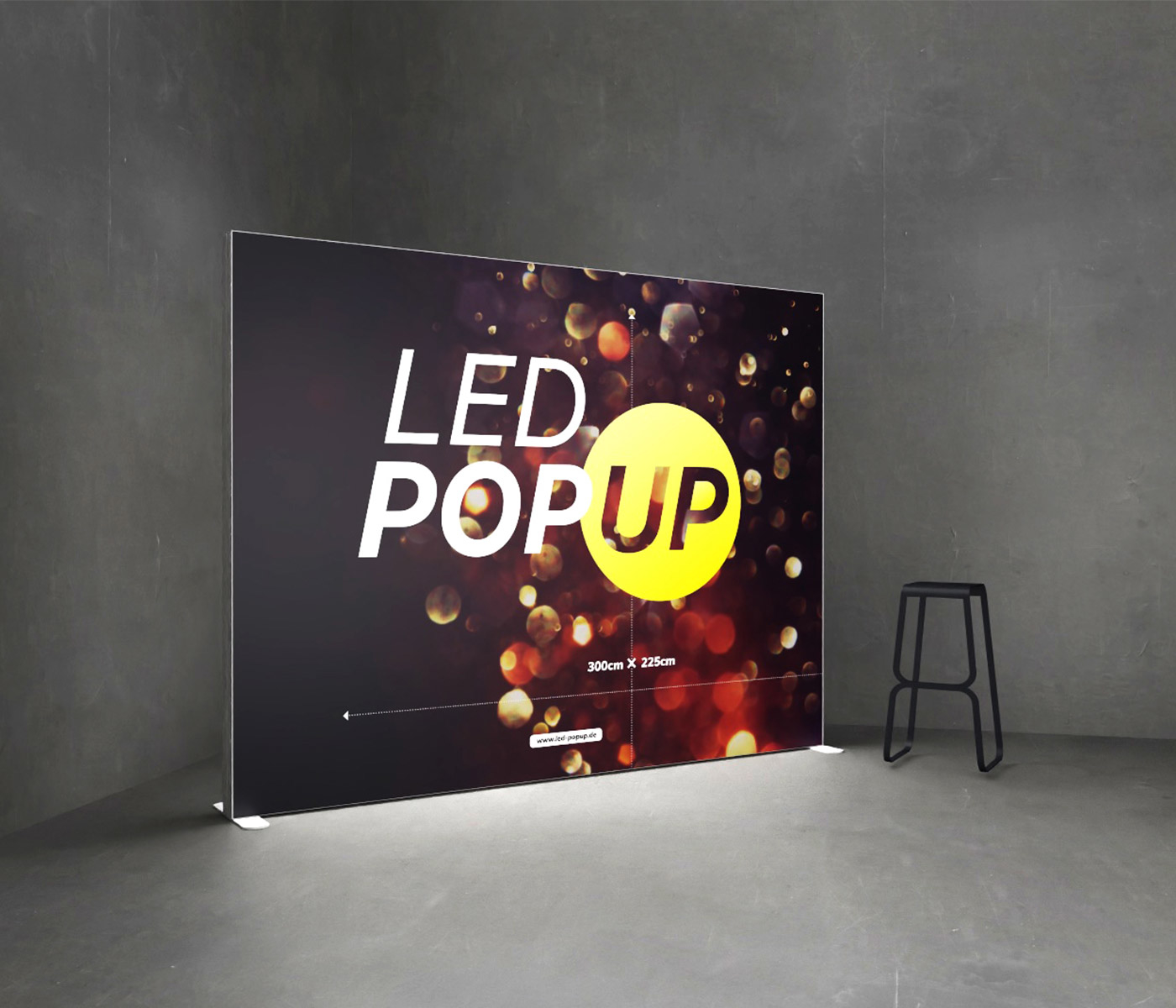 LED-POPUP, die leuchtende Messewand, Promotionwand, Werbewand
